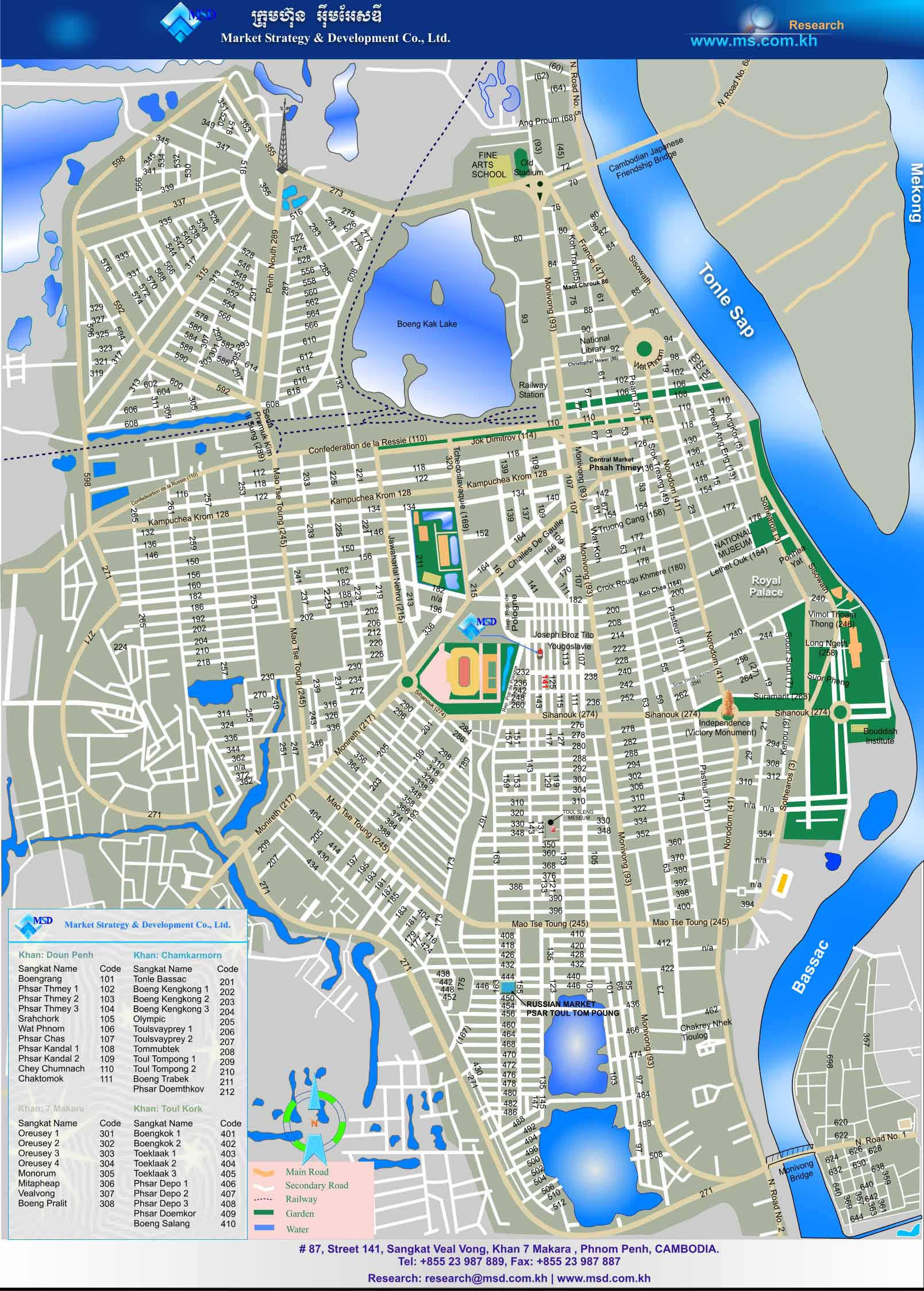 Phnom Penh Map Attractions – Cambodia Tourist Attractions Map