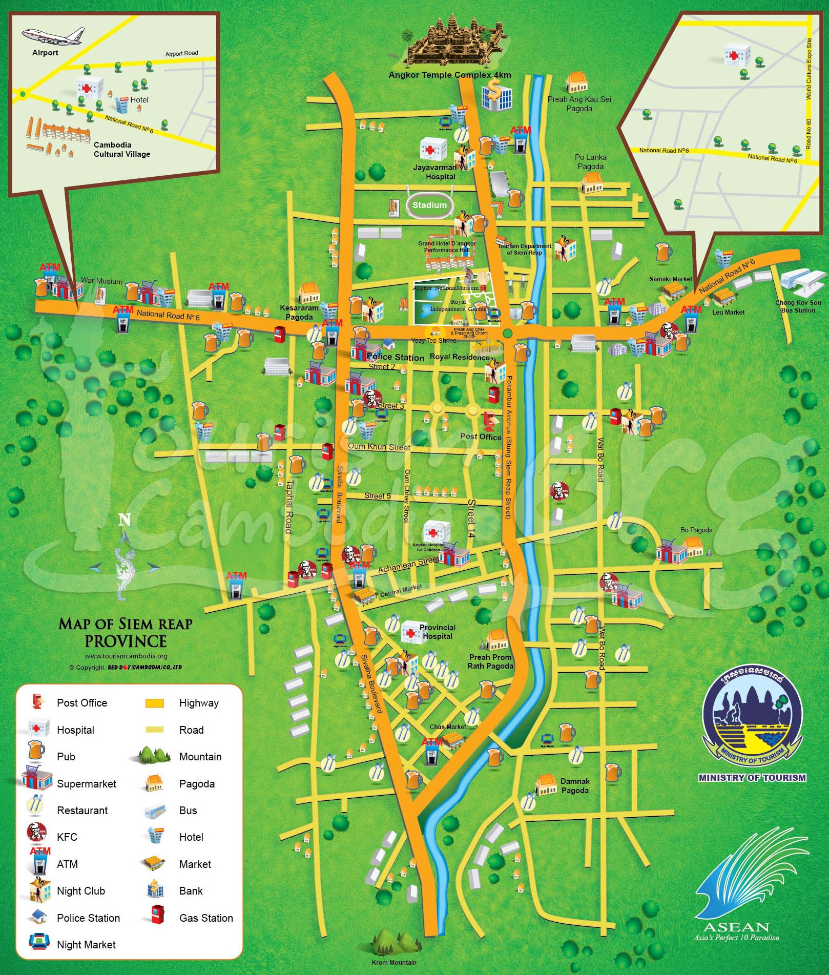 Siem Reap Cambodia  city photos : Siem Reap map. Maps of Siem Reap. Cambodia Map